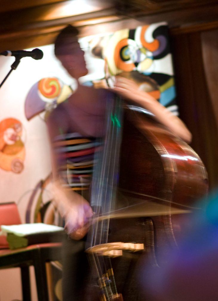 Joe McIntyre/contributing photographer     Syracuse based bassist Jordan Sand performs at the Sacred Root Wednesday in downtown Ithaca. 8/14/19